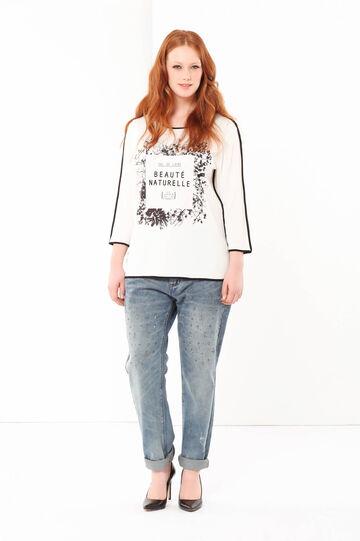 T-shirt con stampa Curvyglam, Bianco, hi-res