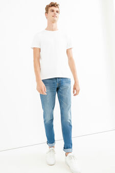 Worn-effect faded regular-fit jeans, Light Wash, hi-res