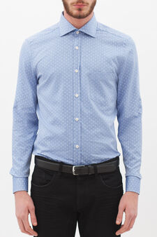 Patterned shirt in cotton oxford, Light Blue, hi-res