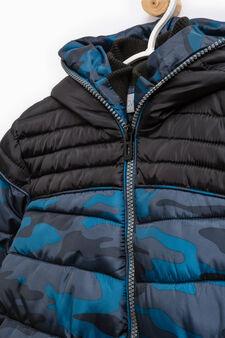 Camouflage print jacket, Blue, hi-res