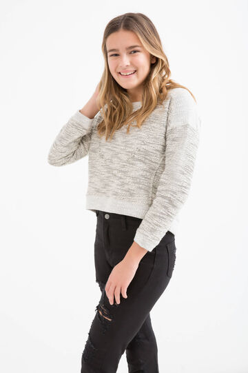 Teen two-tone patterned pullover, Grey, hi-res