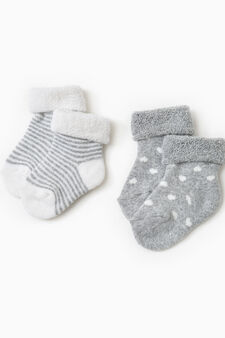 Two-pair pack cotton socks with dots and stripes, White/Grey, hi-res