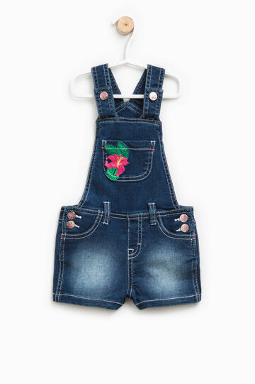 Denim dungarees with embroidery, Denim, hi-res