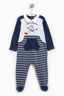 Sleep suit with pouch pocket, White/Blue, hi-res