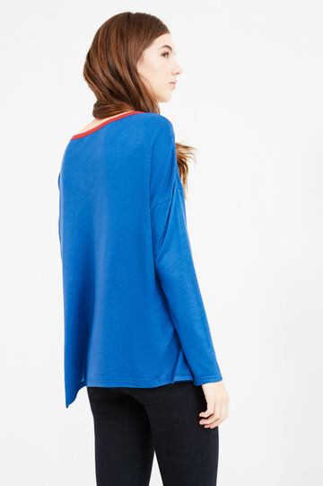 Long-sleeved T-shirt in 100% viscose, Blue/Red, hi-res