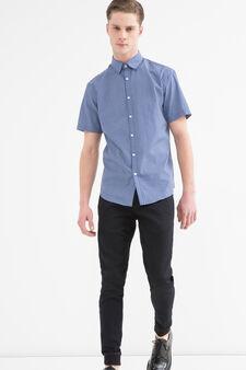 Camicia misto cotone a quadri, Blu, hi-res