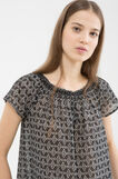 Blouse with patterned ruffle neckline., Moss Green, hi-res