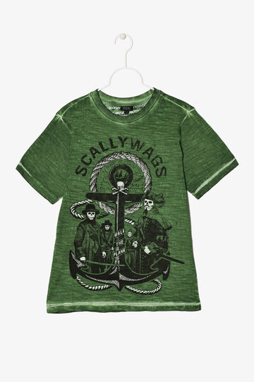 Worn-effect T-shirt with print, Green, hi-res