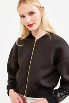 Stretch crop bomber jacket with sequins, Black, hi-res