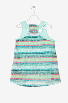 Two-tone sleeveless top with print, Green/Blue, hi-res
