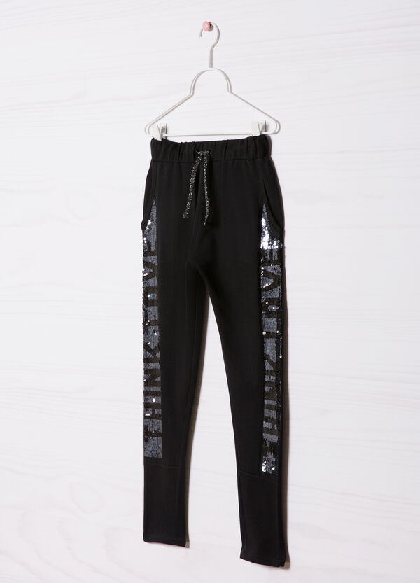 Cotton sequinned trousers | OVS