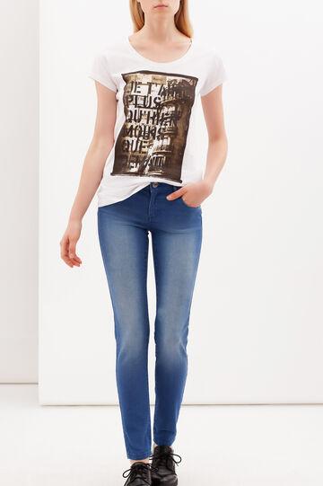 T-shirt con stampa e scollo rotondo, Bianco, hi-res