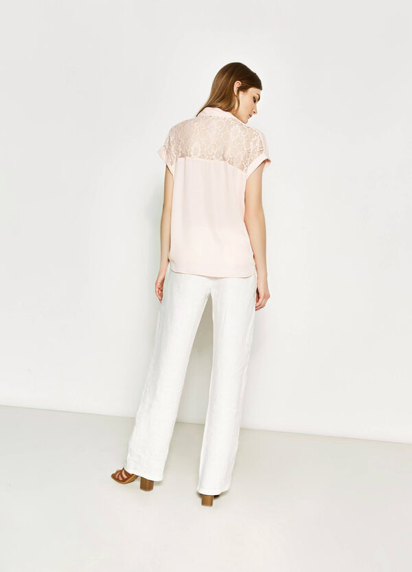 Blouse with lace and crossover baffle   OVS