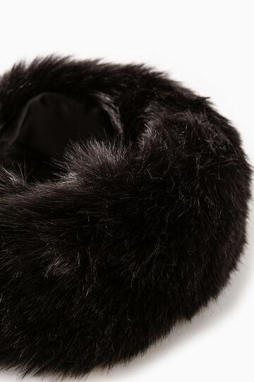 Solid colour faux fur neck warmer, Black, hi-res