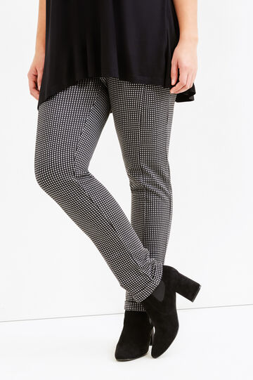 Curvy stretch leggings with pattern, Black/Grey, hi-res