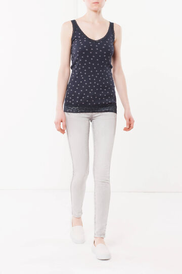 Top with lace details, Navy Blue, hi-res