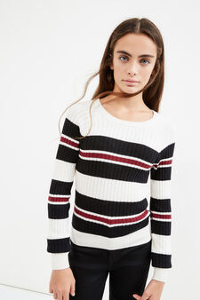 Teen pullover with striped ribbing, Beige, hi-res
