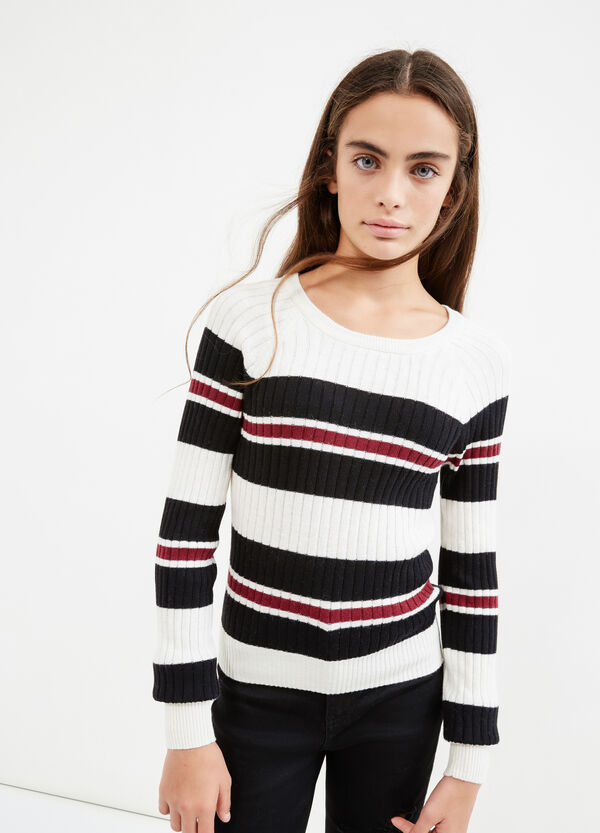 Teen pullover with striped ribbing | OVS