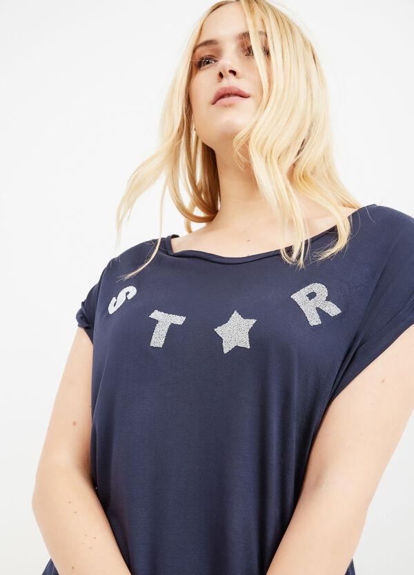 Curvy solid colour T-shirt with diamantés | OVS