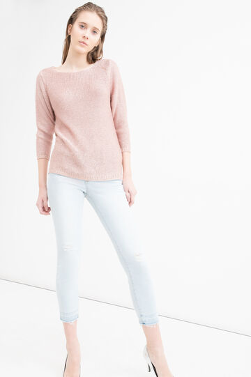 Solid colour knitted pullover, Pink, hi-res