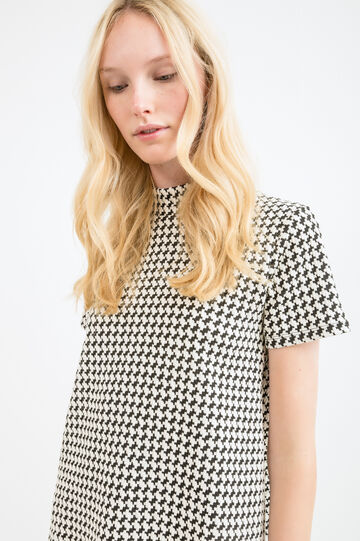 Patterned T-shirt in stretch cotton, White/Black, hi-res