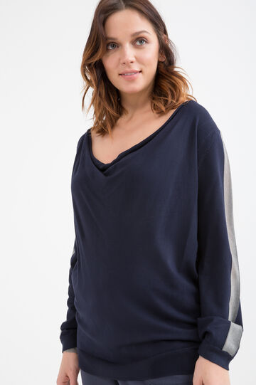 Curvy stretch viscose pullover, Blue, hi-res