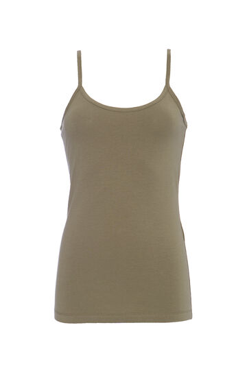 Solid colour stretch jersey top, Army Green, hi-res