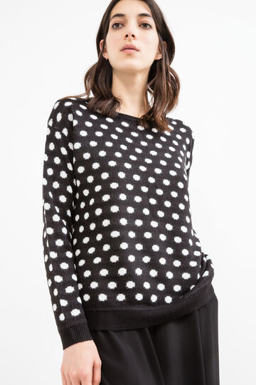 Pullover with polka dot pattern, Black, hi-res