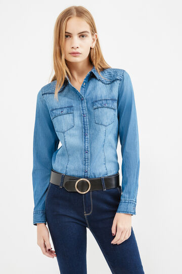 Denim shirt with double pocket, Medium Wash, hi-res