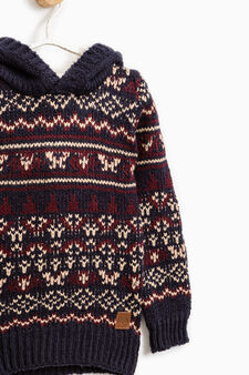 Knitted pullover with hood, Blue/Red, hi-res