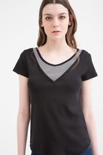 T-shirt puro cotone finto doppio, Nero, hi-res