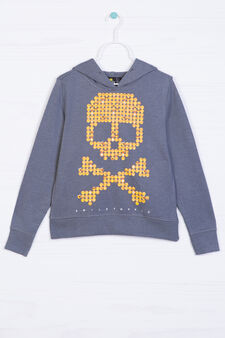 Maxi print hoodie in 100% cotton, Dark Grey, hi-res