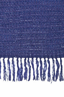 Knitted scarf with tassels, Blue, hi-res