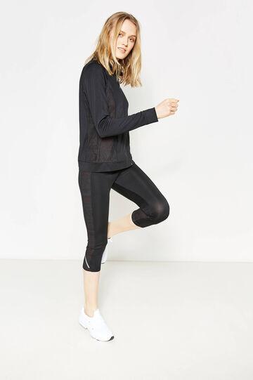 Stretch sweatshirt with openwork design, Black, hi-res