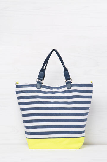 Striped cotton handbag, Blue, hi-res