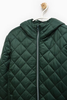 Quilted jacket with hood, Green, hi-res