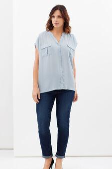 Curvy shirt with mandarin collar, Azure, hi-res