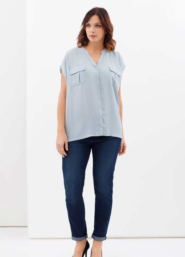 Curvy shirt with mandarin collar | OVS