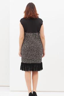Curvyglam stretch dress with fringe, Black, hi-res