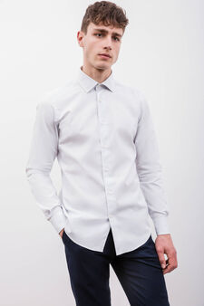Slim-fit formal shirt with micro polka dot pattern, White, hi-res