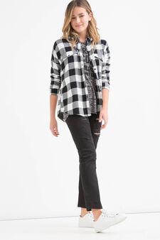 Teen check cotton shirt, White/Black, hi-res