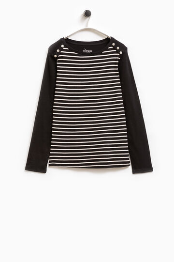 Smart Basic striped cotton T-shirt, Black, hi-res
