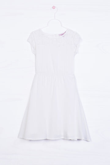 Dress in stretch cotton, White, hi-res
