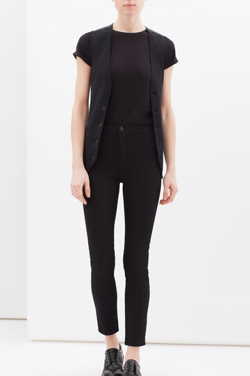 Solid colour waistcoat with buttons, Black, hi-res