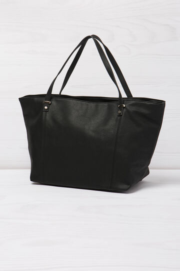 Solid colour leather look shoulder bag., Black, hi-res