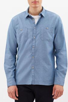 Plain slim fit shirt, Indigo Blue, hi-res