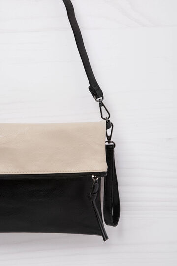 Two-colour leather look clutch bag
