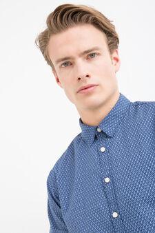 Camicia puro cotone con stampa, Blu, hi-res