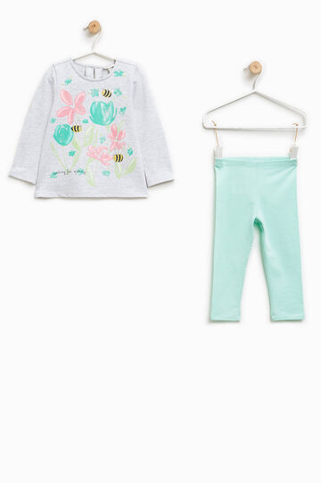 Cotton outfit with glitter print, Grey/Green, hi-res
