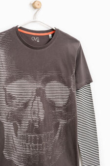 T-shirt stampata in puro cotone, Grigio, hi-res
